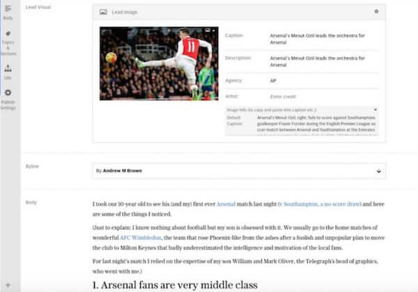 Example Authoring screen for creating an article